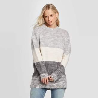 Universal Thread Women's Striped Long Sleeve Crewneck Brushed Tunic Sweater - Universal ThreadTM Charcoal