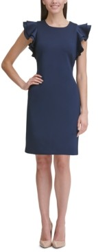 Tommy Hilfiger Petite Scuba Sheath Dress with Flutter Sleeves