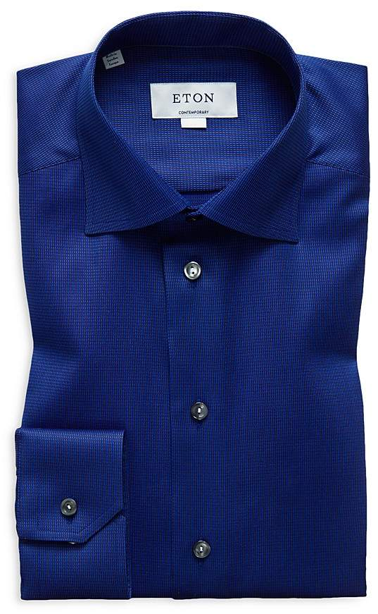 Eton Micro Check Regular Fit Dress Shirt