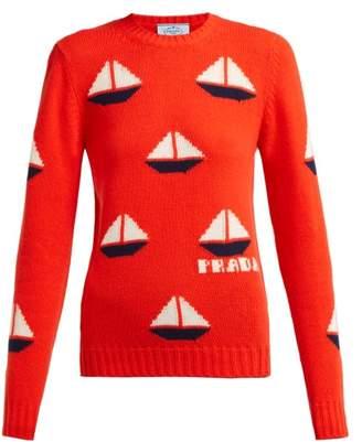 Prada Sailboat-intarsia Wool-blend Sweater - Womens - Orange Multi