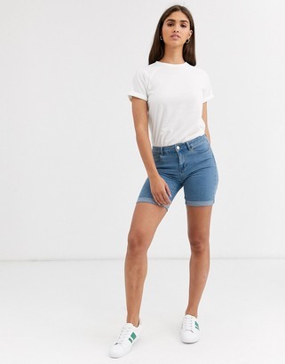 Vero Moda longline denim shorts-Blue
