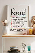 Urban Outfitters Lettered & Lined Food Rules Art Print