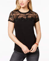 Maison Jules Lace-Yoke T-Shirt, Created for Macy's