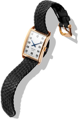 Tom Ford TIMEPIECES Men's 44x30 18K Gold Braided-Leather Large Watch, White/Black