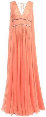 Alberta Ferretti Gathered Draped Embellished Silk-voile Gown