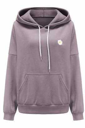 Zilcremo Women Oversized Hoodie Sweatshirt Fleece Long Sleeve Pullover Hooded Tops with Pocket Purple M