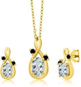 Gem Stone King 1.68 Ct Oval Sky Blue Aquamarine 18K Yellow Gold Pendant Earrings Set