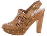 Tory Burch Woven Leather Clogs
