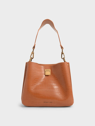 Charles & Keith Croc-Effect Bucket Shoulder Bag