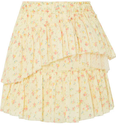 LoveShackFancy Genevieve Tulle-trimmed Floral-print Cotton Mini Skirt - Pastel yellow