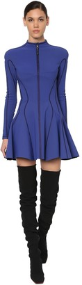 Thierry Mugler Flared Jersey Bonded Mini Dress