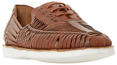 Bertie Bric White Sole Woven Leather Lace-up Shoe, Tan