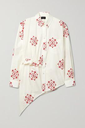 Simone Rocha Asymmetric Ruffled Embroidered Cotton-poplin Shirt - Ivory