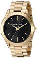 Michael Kors MK3478 Women's Slim Runway Black Dial Yellow Gold Steel Bracelet Watch