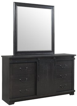 Three Posts Solihull 9 Drawer Combo Dresser with Mirror Color: Antique Black