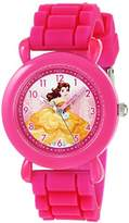Disney Girl's 'Princess Belle' Quartz Plastic and Silicone Casual Watch, Color:Pink (Model: WDS000146)