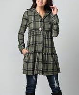 Olive Plaid Tiered Hooded Cardigan - Plus