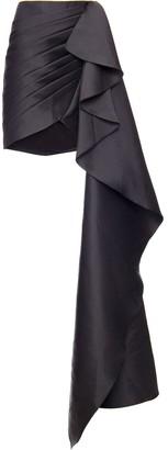 PatBO Draped Asymmetric Mini Skirt