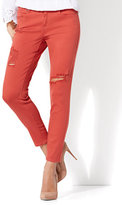 New York & Co. Soho Jeans - Destroyed Ankle Legging - Red Spice
