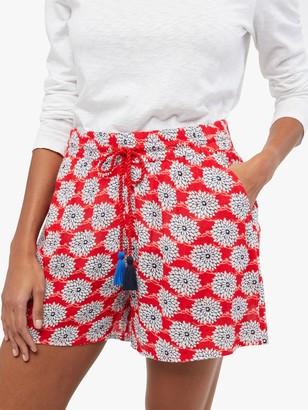 White Stuff Sea Lily Crinkle Shorts, Bright Red