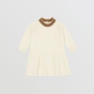 Burberry Childrens Icon Stripe Trim Merino Wool Dress