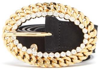 Alessandra Rich Chain-buckle Crystal-stud Leather Belt - Black