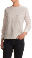 Specially made Cotton Knit and Woven Shirt - Crew Neck, Long Sleeve (For Women)