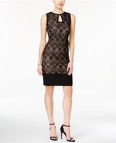 R & M Richards Sleeveless Lace Keyhole Dress