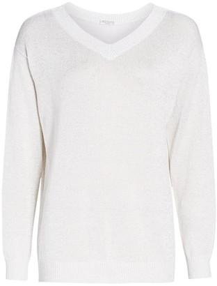 Brunello Cucinelli Lurex Knit V-Neck Sweater