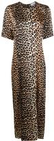 Ganni Leopard Print Long Dress