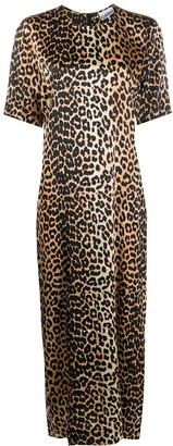 Ganni Leopard Print Long Dress