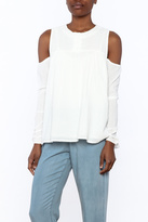 Tractr Cotton Cold-Shoulder Blouse