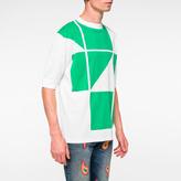 Paul Smith Men's White And Green Geometric Print Mock-Neck T-Shirt