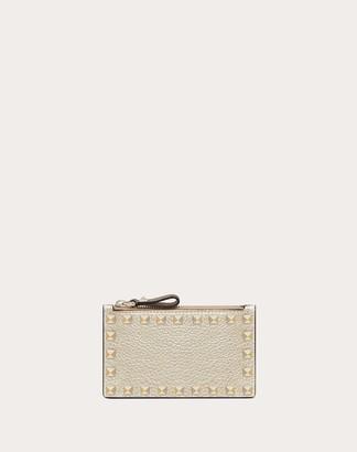 Valentino Rockstud Coin Purse And Cardholder Women Platinum Calfskin 100% OneSize