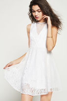 BCBGeneration Mixed Lace Fit-and-Flare Dress