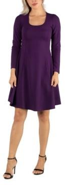 24seven Comfort Apparel Women's Simple Long Sleeve Knee Length Flared Dress