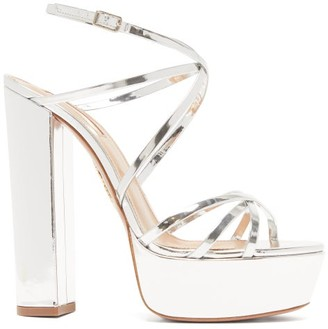 Aquazzura Gin 140 Metallic-leather Platform Sandals - Silver