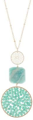 Panacea Crystal & Stone Triple Drop Pendant Necklace