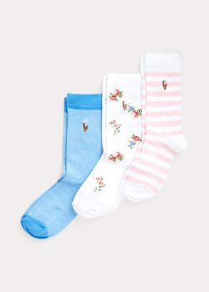 Ralph Lauren Floral Crew Sock 3-Pack