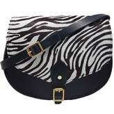 N'damus London Alexandra Zebra Print Leather Saddle Bag In Black With Back Pocket