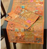 LR Resources Timbuktu 16 in. H x 80 in. W Hand Crafted Orange Cotton and Poly Recycled Sari Table Runner