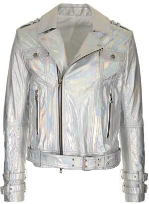 Balmain Hologram Effect Biker Jacket