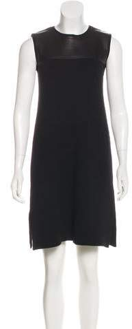Chloé Leather-Accented Wool Dress