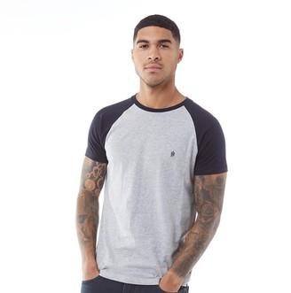 French Connection Mens Raglan T-Shirt Light Grey Marl/Marine