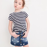 J.Crew Girls' button-front denim skirt with elephants