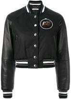 Givenchy cropped bomber jacket - women - Cotton/Lamb Skin/Polyester/Wool - 36