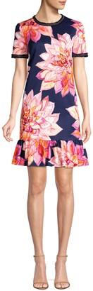 Trina Turk Coast Embellished Faille Print Drop Waist Dress