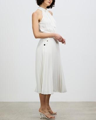 Reiss Women's White Midi Dresses - Nina Halterneck Pleated Midi Dress - Size 10 at The Iconic