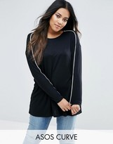 Asos Top in Slouchy Rib with Piping Detail