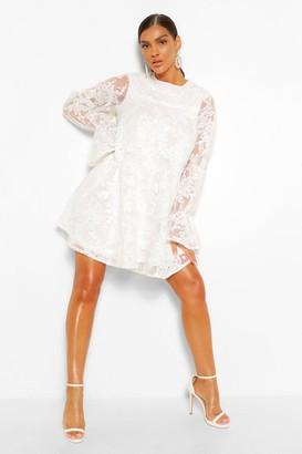 boohoo Lace Tie Cuff Smock Dress